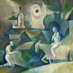 Kasakov - Messias in Russland, 65X85cm Öl.Lw. 1990